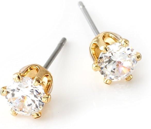 DIAMANTE CROWN STUD EARRINGS in Silver Plate 7mm Cubic Zirconia Crystal