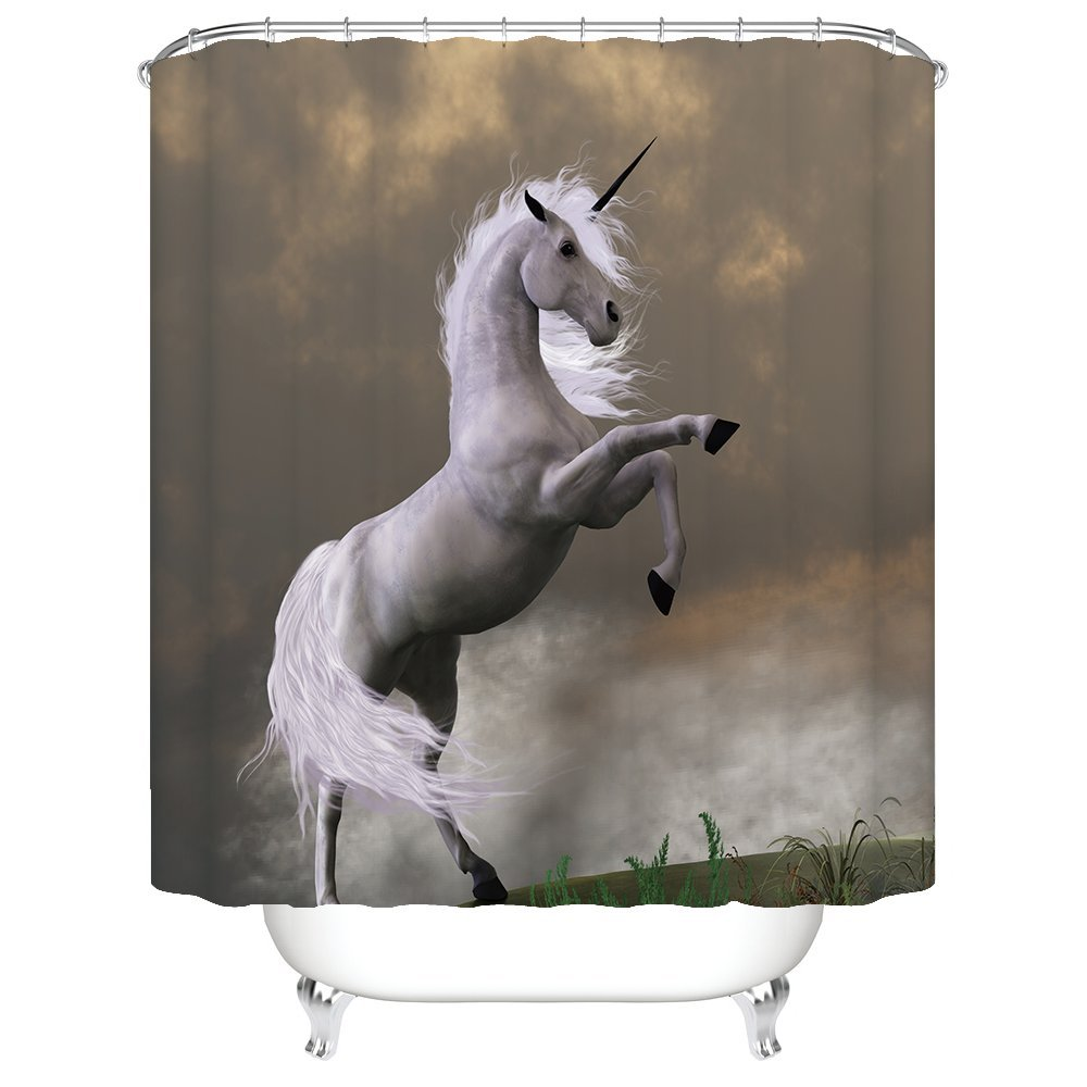 Gwein Kids Teens Bathroom Funny Decoration Unicorn in the Forest Home Decor Shower Curtain Polyester Fabric Mildew Proof Waterproof Cloth Shower Room Decor Shower Curtains Green 60x72 Inches Jennifer
