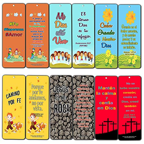 Spanish How Great is Our God Bookmarks for Kids (12-Pack) - Teach Young Children Memory Verses in Spanish Language