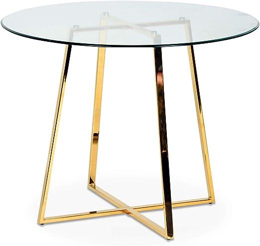 Déco en Ligne – Mesa redonda de cristal y dorado: Amazon.es: Hogar