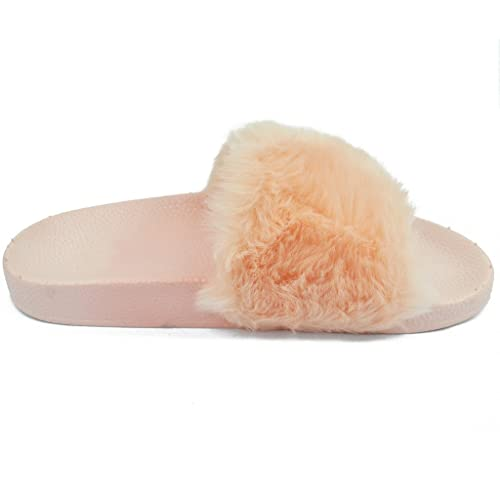 5cbda5f477c1f WestCoast Women's Fluffy Furry Faux Fur Single Band Slide Softy Flat in  Slipper Sandals