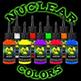 Tattoo Ink Set - MOM'S Nuclear UV Blacklight Colors 9 Primary 1/2oz