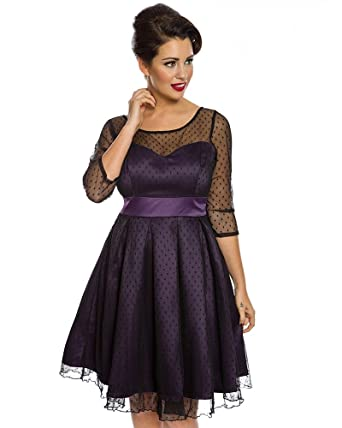 Lindy Bop Serephina Russian Violet Polka Dot Prom Dress - 8