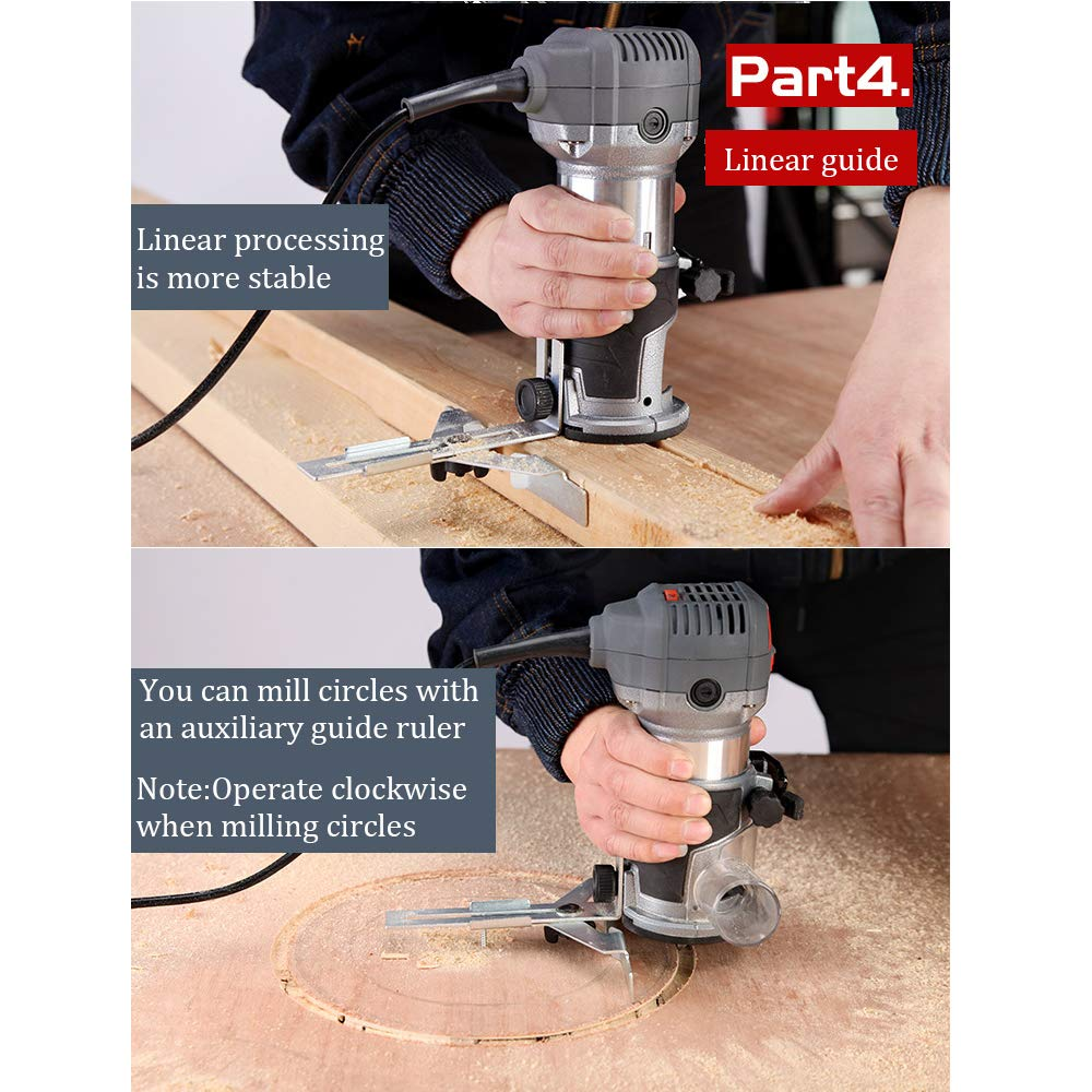 Compact Router Kit 220V 50Hz Woodworking Electric Trimming set Wood Clean Cuts Power Tool 30000RPM 600W (Router Kit) by FASTTOBUY (Image #6)