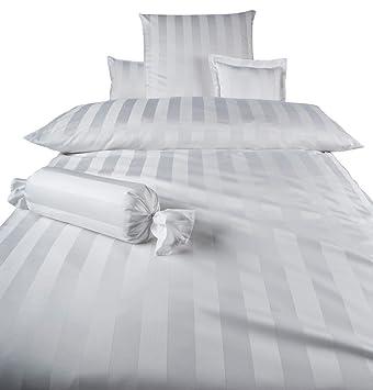 Curt Bauer Mako Damast Bettwäsche Como Größe 135x200+80x80 cm Farbe Weiß