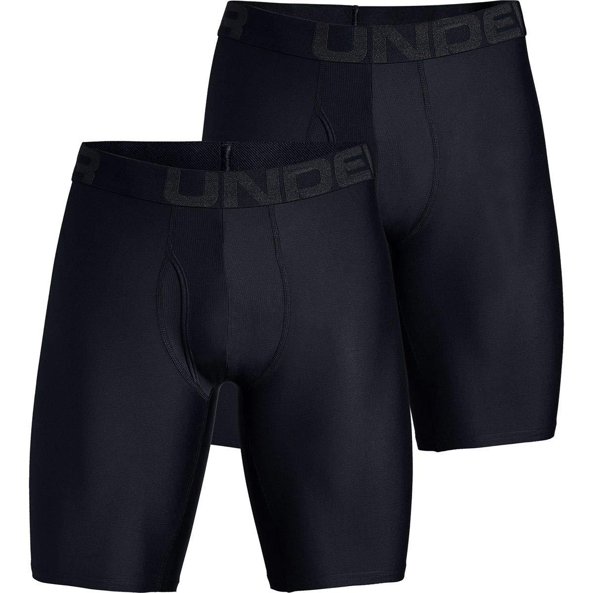 Under Armour Tech 9in Underwear - 2-Pack - Men's Black/Black, L by Under Armour