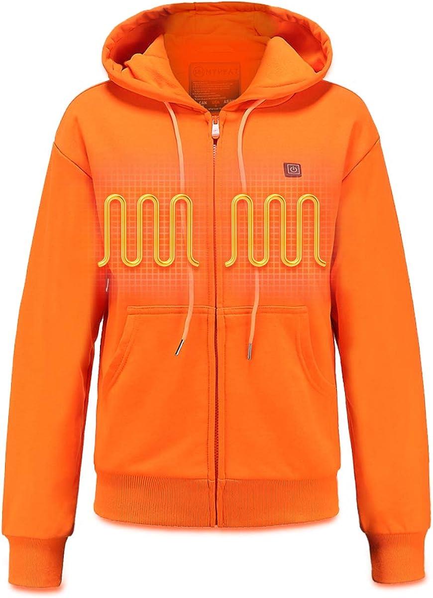 MYHEAT Women's Heated Hoodie with Battery, Heavyweight Fleece Hooded Sweatshirt
