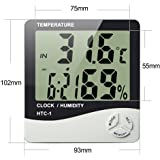 HTC-1 High accuracy LCD Digital Thermometer Hygrometer Indoor Electronic Temperature Humidity Meter Clock Weather Station By Celebration