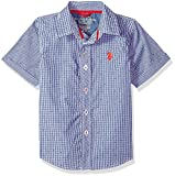 U.S. Polo Assn. Little Boys' Short Sleeve Plaid Sport Shirt, Check Dots Barcelona Blue, 7