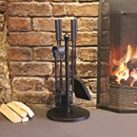 Garden Mile® Modern Black Cast Iron Fireplace Companion Set Vintage Style 5Pc Fireplace Tool Sets Coal Fire Wood Burner Accessories. (Modern Companion Set)