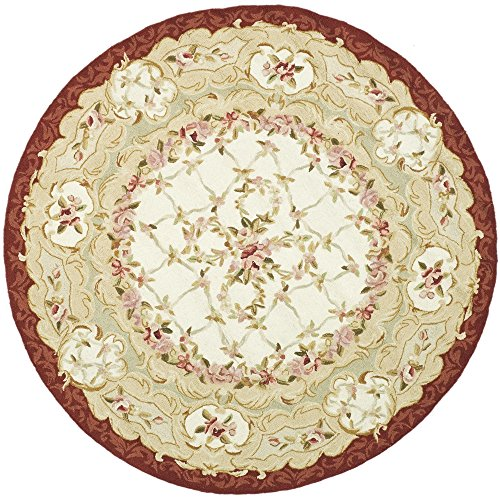Safavieh Chelsea Collection HK73A Hand-Hooked Ivory and Burgundy Premium Wool Round Area Rug (4' - Canvas Aubusson Rug