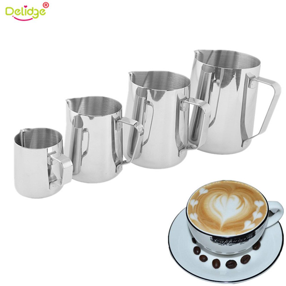 Delidge Stainless Steel Milk Frothing Pitcher - Measurements on Both Sides Inside Plus eBook & Microfiber Cloth - Perfect for Espresso Machines, Milk Frothers, Latte Art (4Pcs/Set)