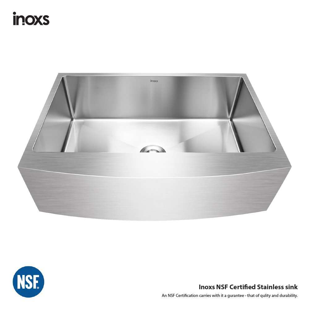 ASME A112.19.3//CSA B45.4 Inoxs 33 x 21 x 10 Farmhouse Apron Front Single Bowl 16 Gauge Handmade Stainless Steel kitchen Sink//I-ACS3321//NSF Certified