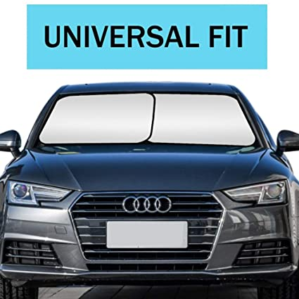 """Windshield Sun Shade Foldable 2 Pcs Car Front Window Sunshade UV Protector for Most Cars,Universal Auto Sun Blocker and Sun Reflector,Heat Reflector to Keep Vehicle Cool 28 x 31.1/"""" Universal Fit"""