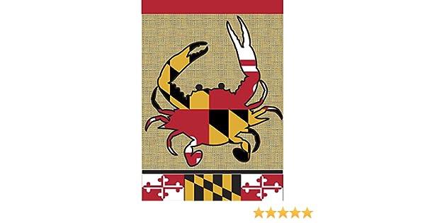 Bandera de Maryland cangrejo silueta 18 x 13 rectangular Burlap ...