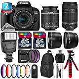 Canon EOS Rebel 800D/T7i Camera + 18-55mm IS STM Lens + Canon 55-250mm IS Telephoto Lens + 6PC Graduated Color Filter Set + 2yr Extended Warranty + 32GB Class 10 Memory - International Version