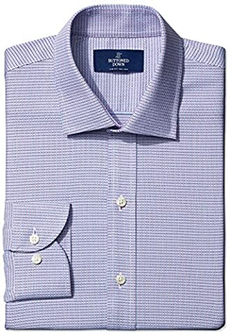 Buttoned Down Men's Slim Fit Spread-Collar Small Geo Non-Iron Dress Shirt, pink/blue, 15.5 34 (Geo Press)