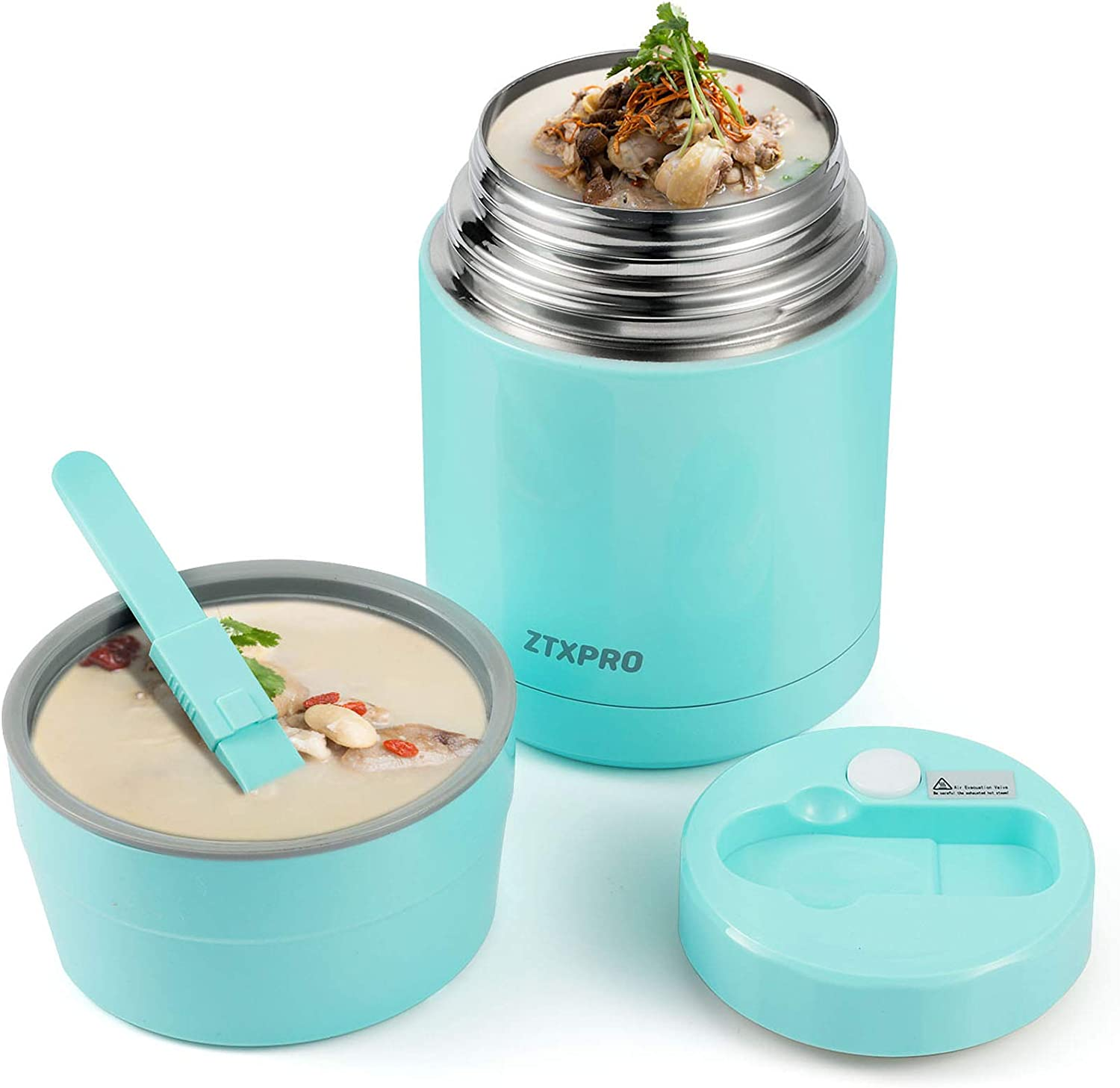 Insulated Lunch Container Thermos Food Jar for Hot Food Wide Mouth 27 oz with Folding Spoon & Handle Food Storage Container ZTXPRO Leak Proof Design for Adult School Picnic Office Outdoors -Cyan Blue