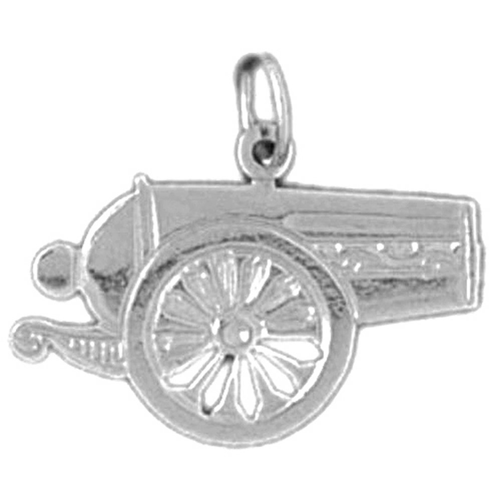 Jewels Obsession Canon Necklace Rhodium-plated 925 Silver Canon Pendant with 18 Necklace