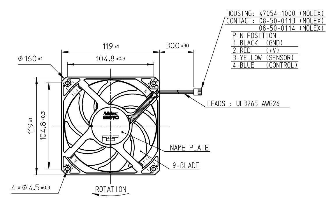 Nidec Servo Gentle Typhoon D1225c12b5ap 120mm 1850 Rpm 4 Pin Computer Fan Wire Diagram Silent Case Computers Accessories