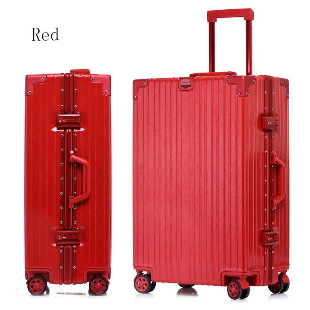 アルミフレームトローリーケースパスワードロックスーツケースユニバーサルホイール荷物のスーツケース (Color : 赤, Size : 26 inches)   B07R5QRCNY