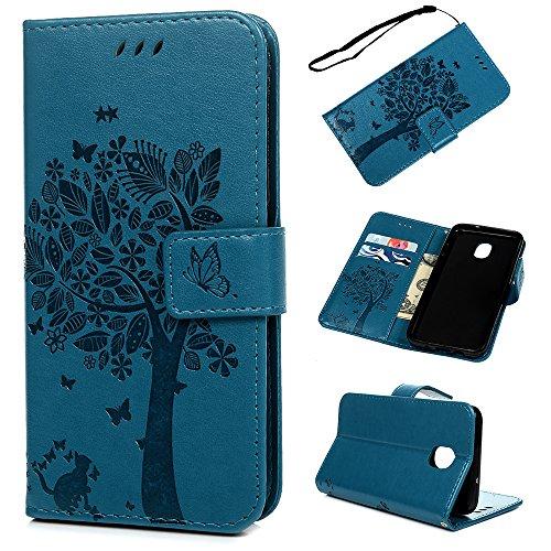 (for Samsung Galaxy J3 2018 Case, Badalink J3 Achieve Case Wallet, J3 Express Prime 3/J3 Eclipse 2/J3 Orbit/J3 Prime 2/Amp Prime 3/j3 Emerge 2018 Wallet Case Cover Leather Bumper Kickstand Skin - Blue)