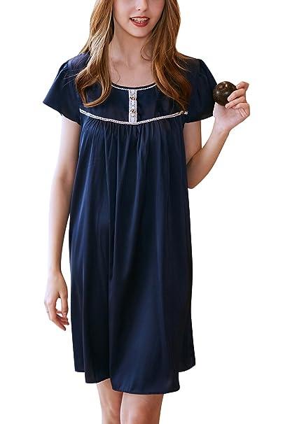 YAOMEI Camisón para Mujer Camisones Raso Satin Pijamas, Lencería Spaghetti Strap Babydoll Satén Neglige Lencería