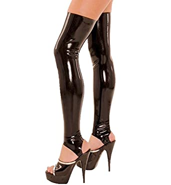 abfa2f465c1 CHICTRY Women s Wet Look Thigh High Latex Stirrup Tights Stockings Costume  Black Small