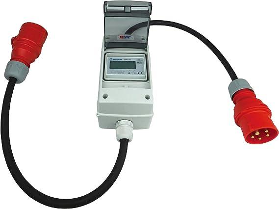 Zwischenzähler Adapter 32A CEE mit Rollenzählwerk und FI