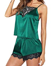 Innerternet 2PCS Femmes Ensembles de Pyjama de Soie à Bretelles en Satin et Dentelle Top Vêtements de Nuit Ensemble Cami Top Pyjama Sets