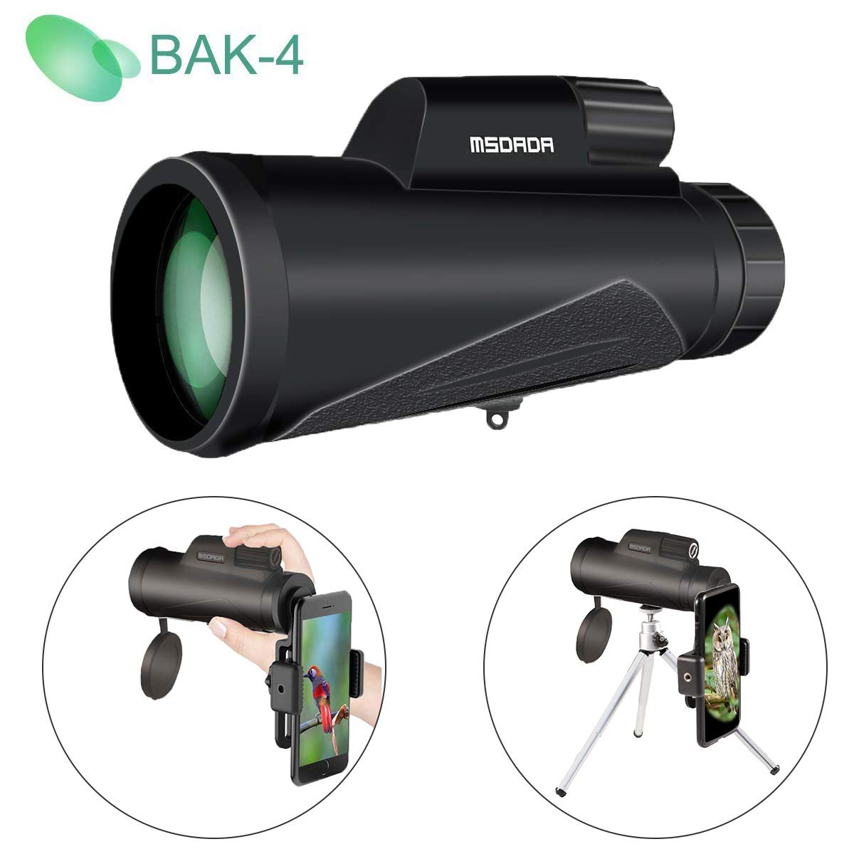 12X50 High-Powered Monocular Telescope for Phone, BAK4 Prism, Low Night Vision Waterproof Fog-Proof,Smartphone Adapter Tripod Holder Fit Adults Kids for Hiking, Hunting, Camping, Birding, Concert