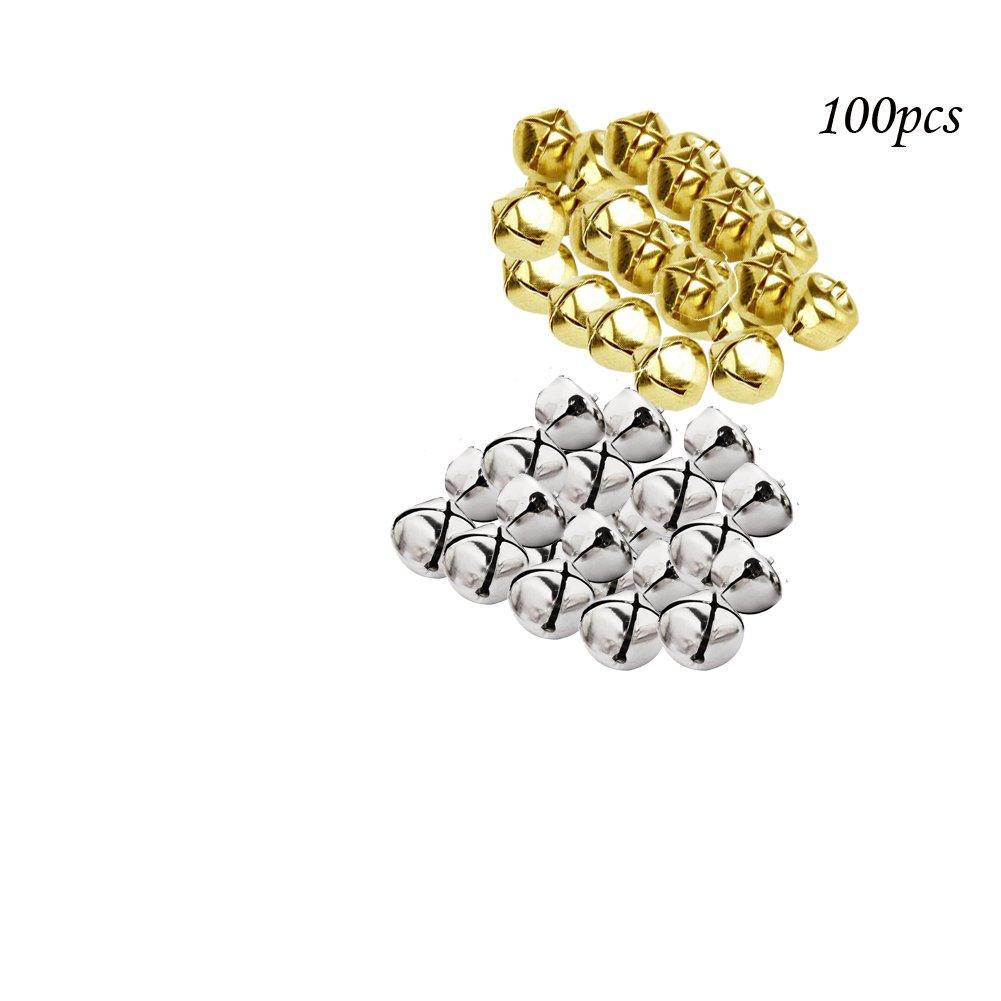Yigo 50PCS 25mm (2,5cm) di ferro perline piccolo Jingle Bells decorazioni di Natale pendente DIY Crafts accessori fatti a mano, Gold+silver, 25MM(1 inch)