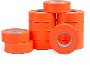 AdirPro 12 Pack Fluorescent Flagging Tape, 150' X 1'' Wide - Multipurpose Neon Marking Tape - Great Visual Labeling & Tagging for Home & Workplace Use (Fluorescent Orange)