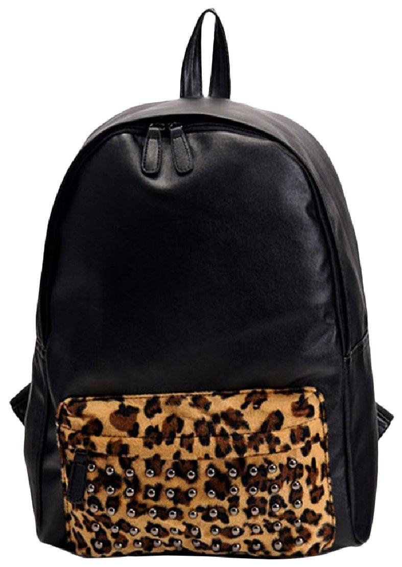 Amazon.com: AM Landen Leopard PU Studded Backpacks School Bag ...