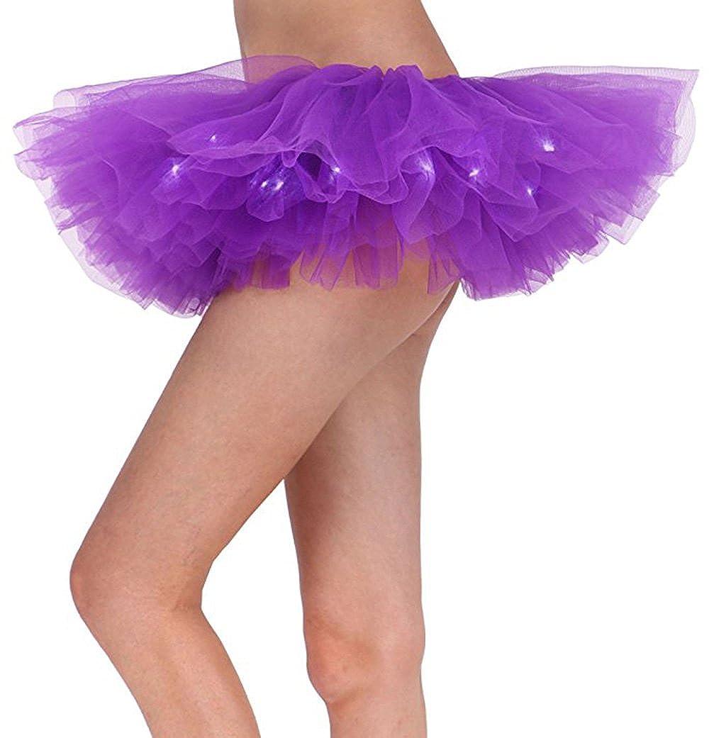 YYKIT Women LED Light Up Tutu Skirt 5 Layered Tutu Party Skirts for Girls