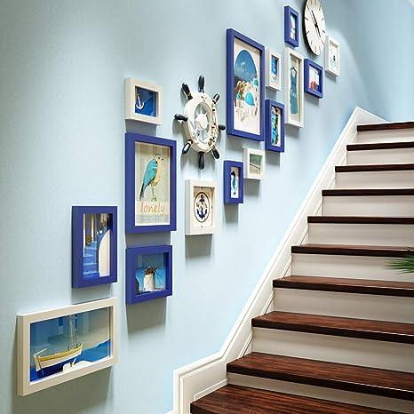 Escaleras Decoración de fondo de pared de fotos, Marcos de cuadros de collage, Marcos de fotos decorativos mediterráneos de pared, Marco de fotos de combinación de reloj, Marco montado en la pared: