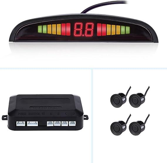 Car 4 Sensors LED Display Kit Reversing Parking Radar Buzzer System Parktronic