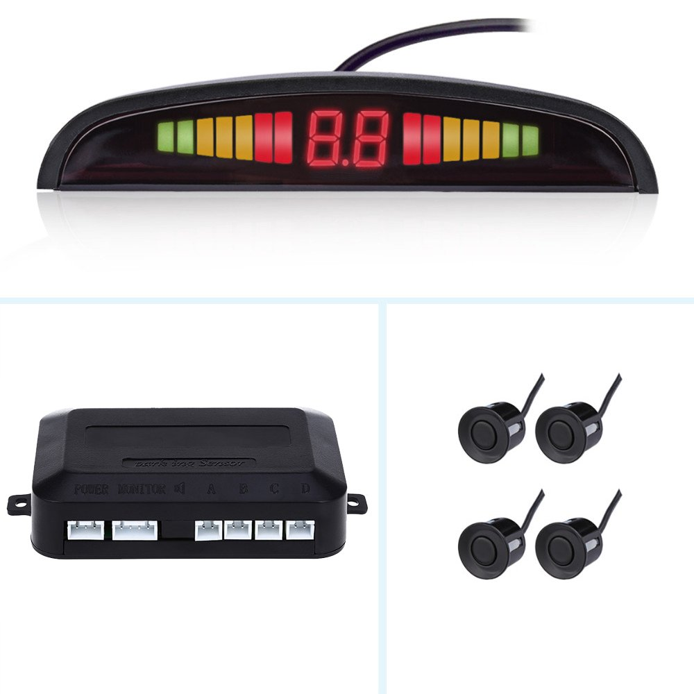 Car Auto Parktronic LED Parking Sensor with 4 Parking Sensors Backup Reverse Radar System Buzzing Sound Warning Alarm Kit