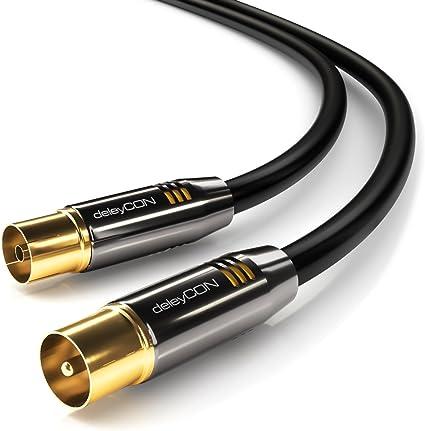 deleyCON 1,5m TV Cable de la Antena Coaxial Cable de TV 100dB 4K Ultra HD UHD HDTV Full HD - Enchufe de TV a Toma de TV - Conector Metálico - ...