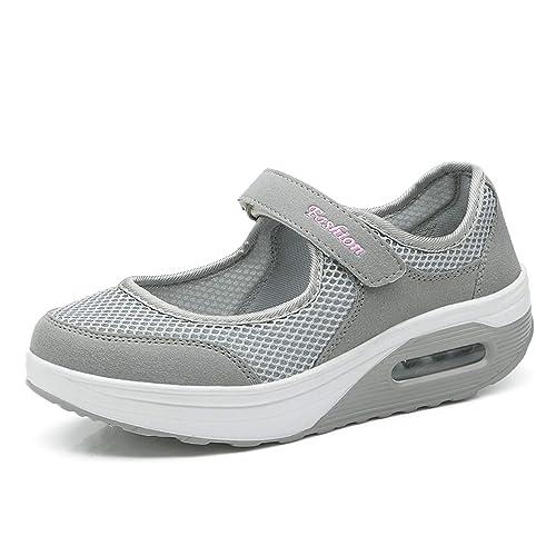 92ad750d Kauson Mujer Adelgazar Zapatillas de Deporte Cuña Zapatos para Correr  Plataforma Sneakers con Cordones Calzado de Malla Air Tacón 5cm Negro Negro  Rojo Gris ...