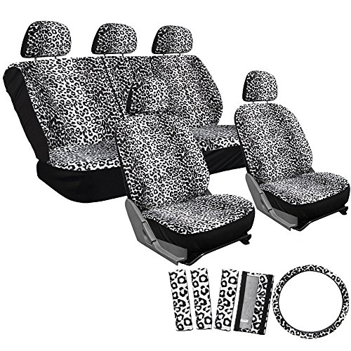 OxGord 17pc Set Leopard Animal Print Auto Seat Covers Set - Front Low Back Buckets - Rear Split Bench - Snow (Back Bench Cover)
