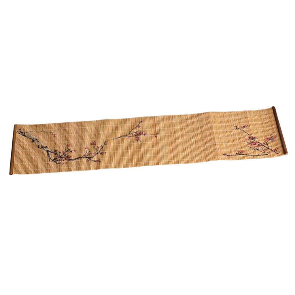 Red Plum Baoblaze Rectangle Bamboo Tea Mat Heat Insulated Curtain Table Decor Lotus