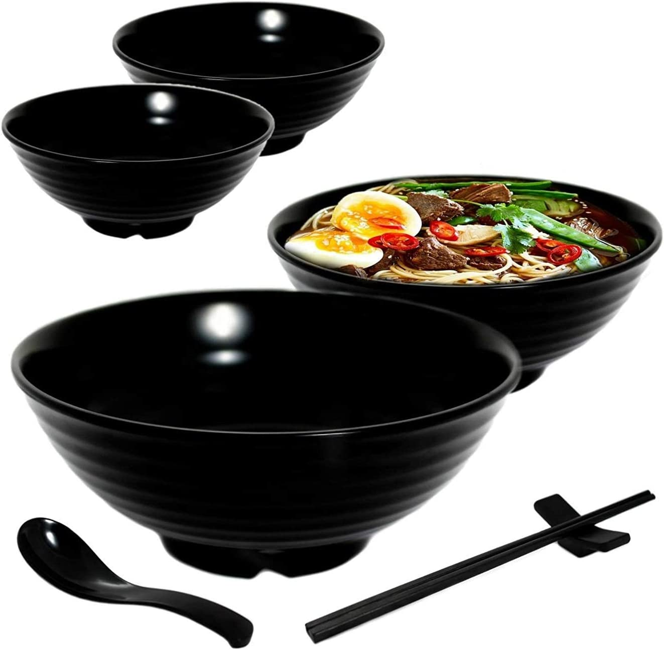 Details about  /Noodle Soup Bowl with Bamboo Chopsticks and Ceramic Spoon