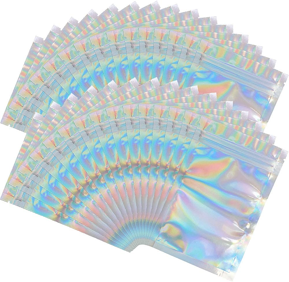 100 Pieces Mylar Holographic Resealable Bags - 5.5 x 7.8