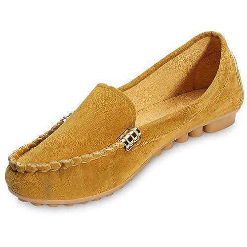 Casual Ronda Toe Deslizante-En Antideslizante Mocasines Mujeres Zapatos Planos: Amazon.es: Zapatos y complementos