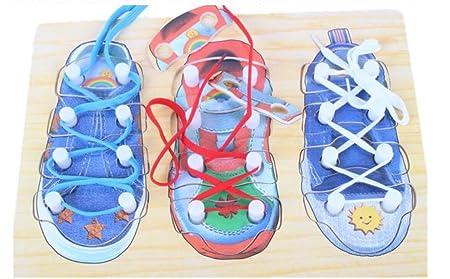 Flowerkui Kinder Early Learning Holz Einfadeln Schuh Um Schuhe