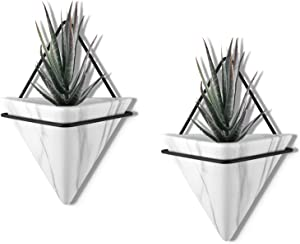 PUDDING CABIN 2 Set Large Marble Wall Planter Decor, Geometric Hanging Planter Indoor Succulent Planter Ceremic Wall Hanging Planter Airplant Holder for Home Office Decor