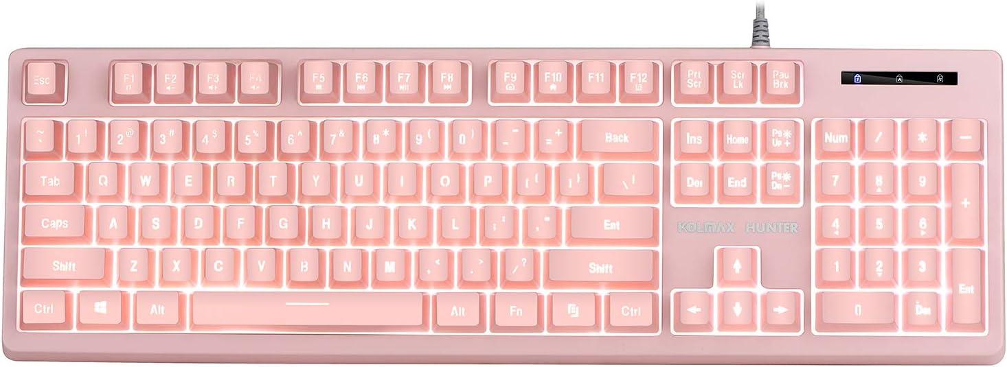 KOLMAX Gaming Keyboard,Pink-White LED Backlit Quiet Keyboard for Office, USB 12 Multimedia Keys,19 Keys Anti-ghosting Computer Office Keyboard 104 Keys for Windows PC Mac Gaming Pink-White