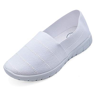 1365e6cdb9 HeelzSoHigh Girls Boys Kids Childrens White Slip-On School Plimsolls Pumps  Trainers Shoes Sizes 10-3: Amazon.co.uk: Shoes & Bags