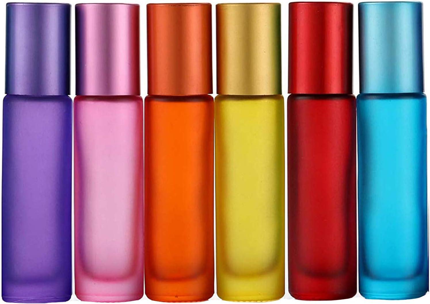 Alledomain, 6 unidades, botellas de 10 ml de aceites esenciales, vacías, con bola de acero inoxidable, incluye 1 gotero y abridor